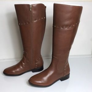 Marc Fisher Secalm Leather Studded Knee-High Boots